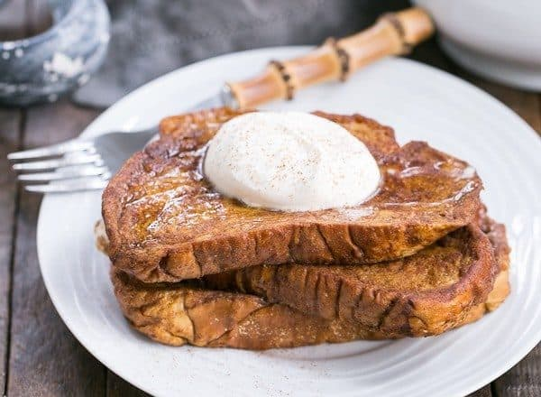 Pumpkin French Toast - A decadent breakfast treat with all the fabulous autumnal flavors of pumpkin pie!
