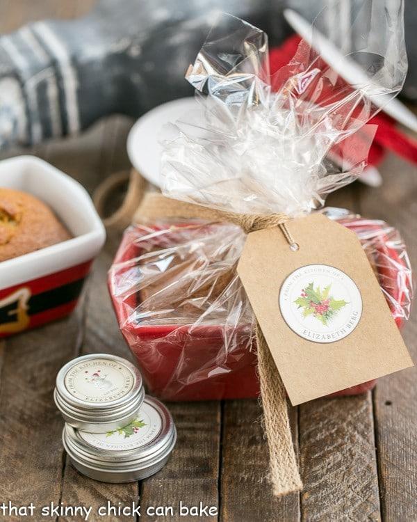 Mini Pumpkin Breads wrapped in cellophane with a festive gift card