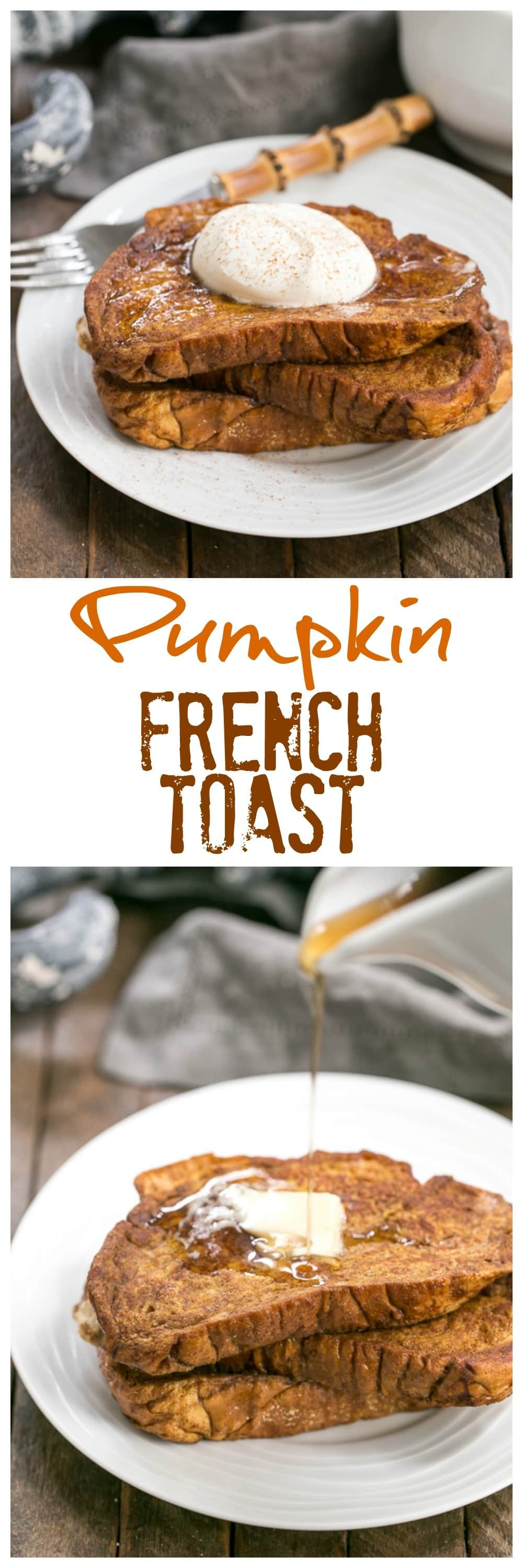 Pumpkin French Toast with Mascarpone Whipped Cream - That Skinny Chick ...