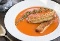 Thyme Kissed Tomato Soup with Grilled Cheese Fingers #SundaySupper