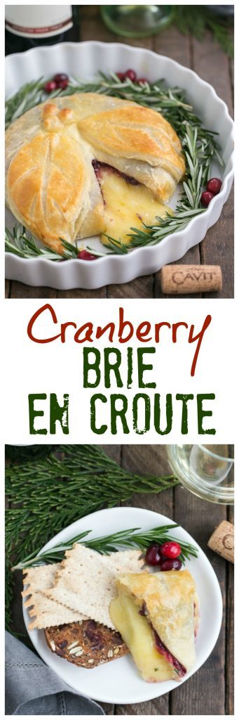 Cranberry Brie en Croute   An irresistible, seasonal Brie topped with cranberry sauce, a touch of rosemary and wrapped in puff pastry!
