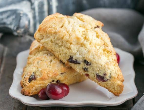 Cranberry Eggnog Scones | Moist, tender, scrumptious and spiked with eggnog!