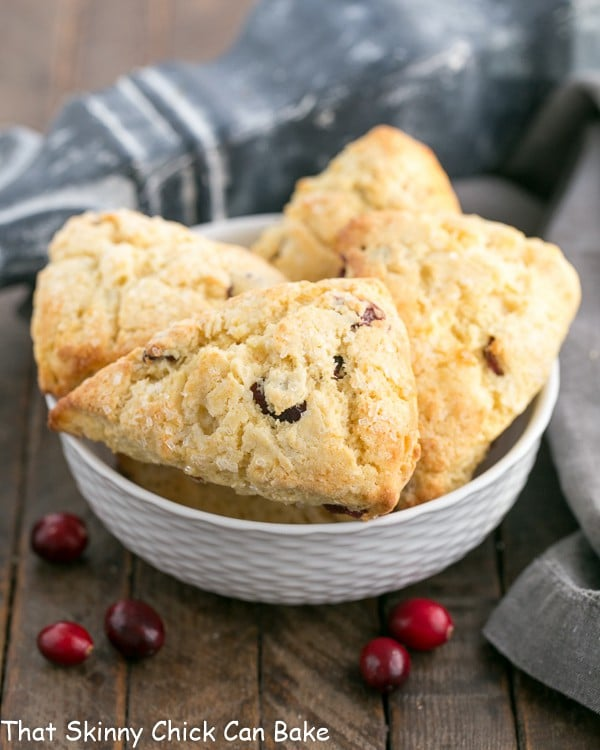 Cranberry Eggnog Scones   Moist, tender, scrumptious and spiked with eggnog!