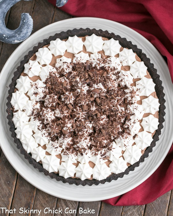 French Silk Tart overhead view on a white serving plate