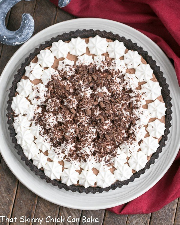 French Silk Tart | Rich, satiny smooth chocolate filling in an Oreo crust