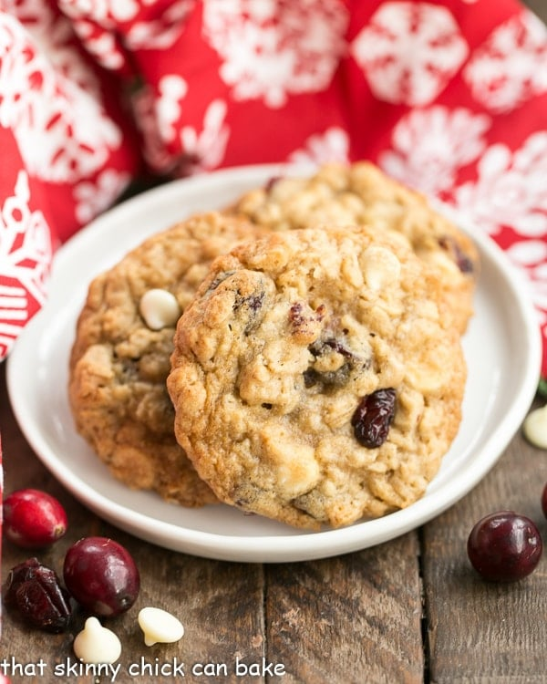Gingered Cranberry Oatmeal Cookies on a white dessert plate
