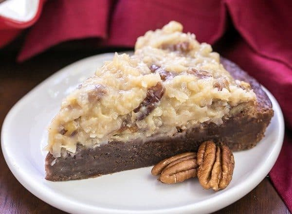 German Chocolate Brownie Pie | Fudgy brownie pie topped with the classic German chocolate frosting!