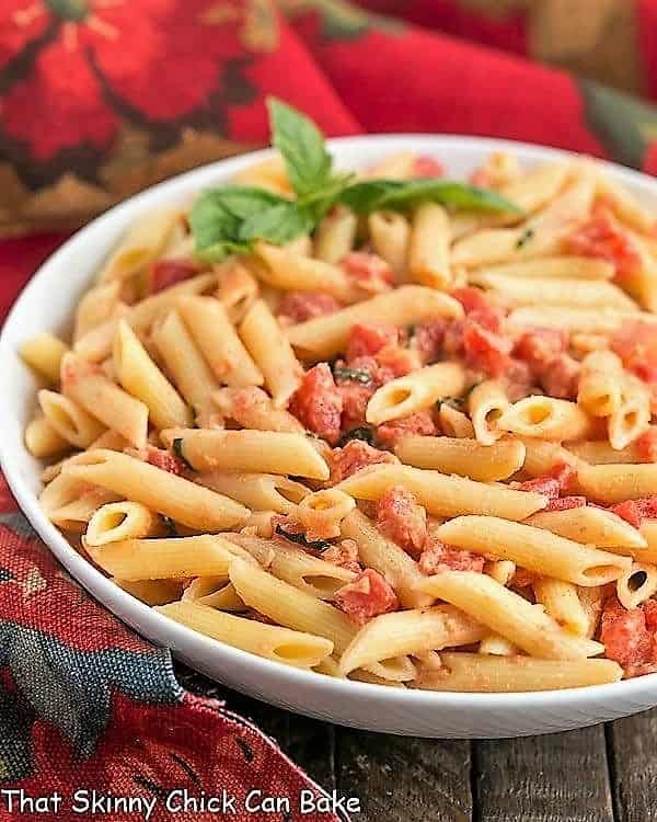 Close up of Penne alla Vodka in a serving bowl