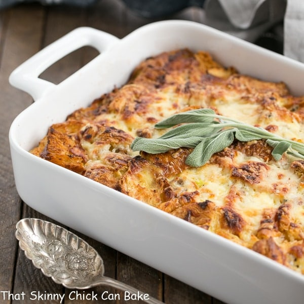 Sausage Croissant French Toast Casserole - Tender, buttery and full of flavor from sausage, herbs and Gruyere