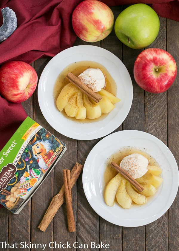 Tea Poached Apples - Tea, honey and wine poached apples with a dollop of Calvados spiked mascarpone cream