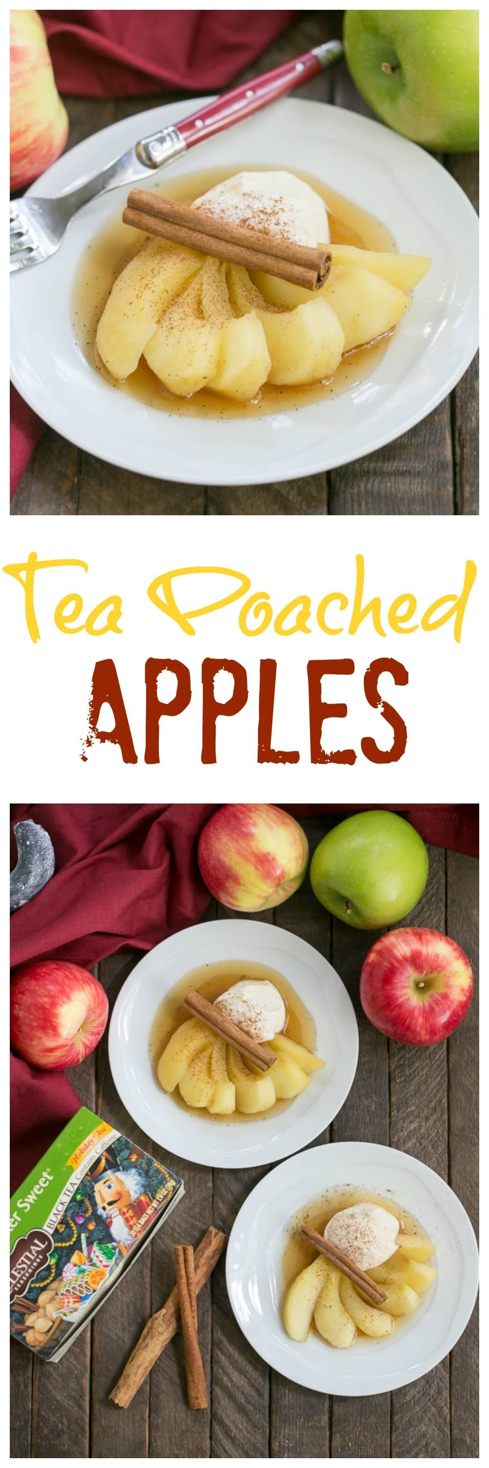 Tea Poached Apples | Tea, honey and wine poached apples with a dollop of Calvados spiked mascarpone cream
