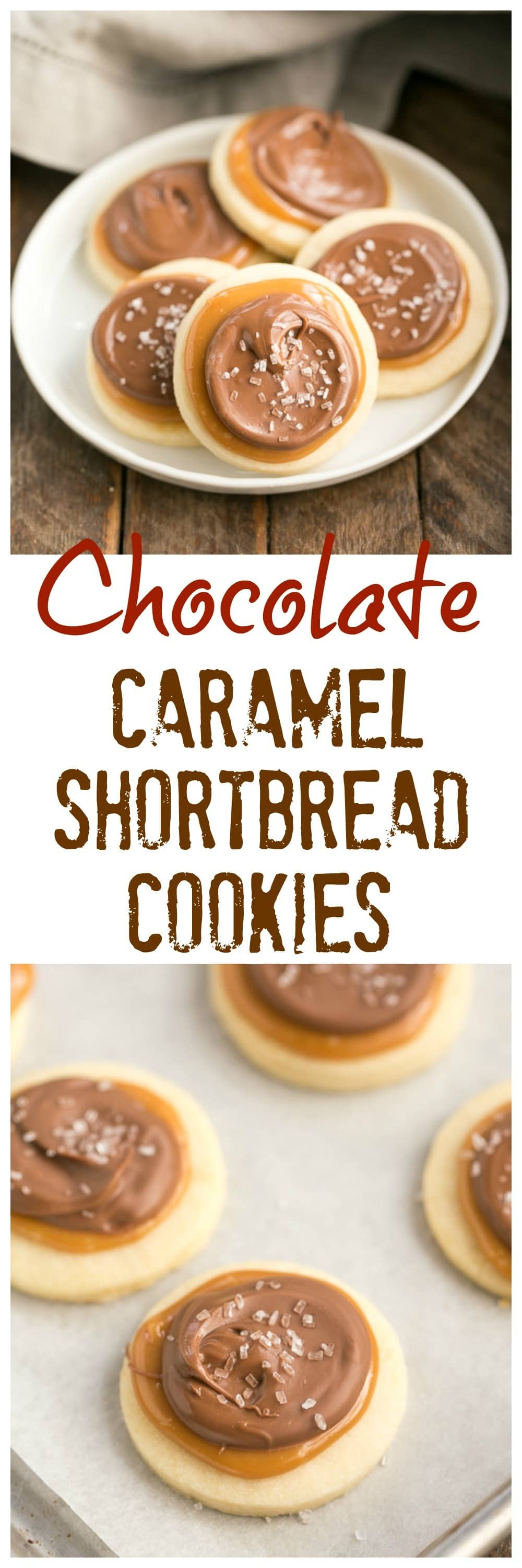 Chocolate Caramel Shortbread Cookies | All the flavors of a Twix bar in one delectable cookie!