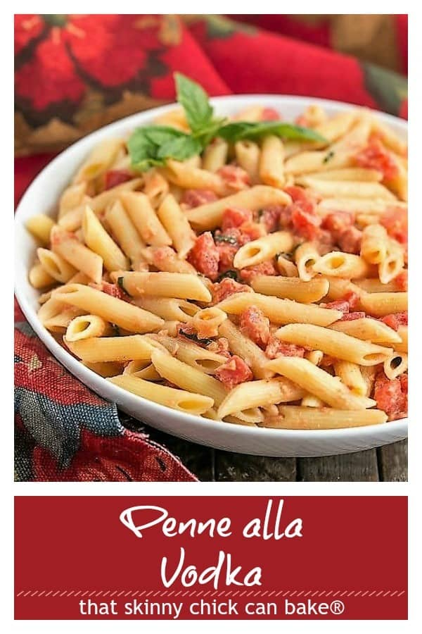 Penne alla Vodka photo and text collage