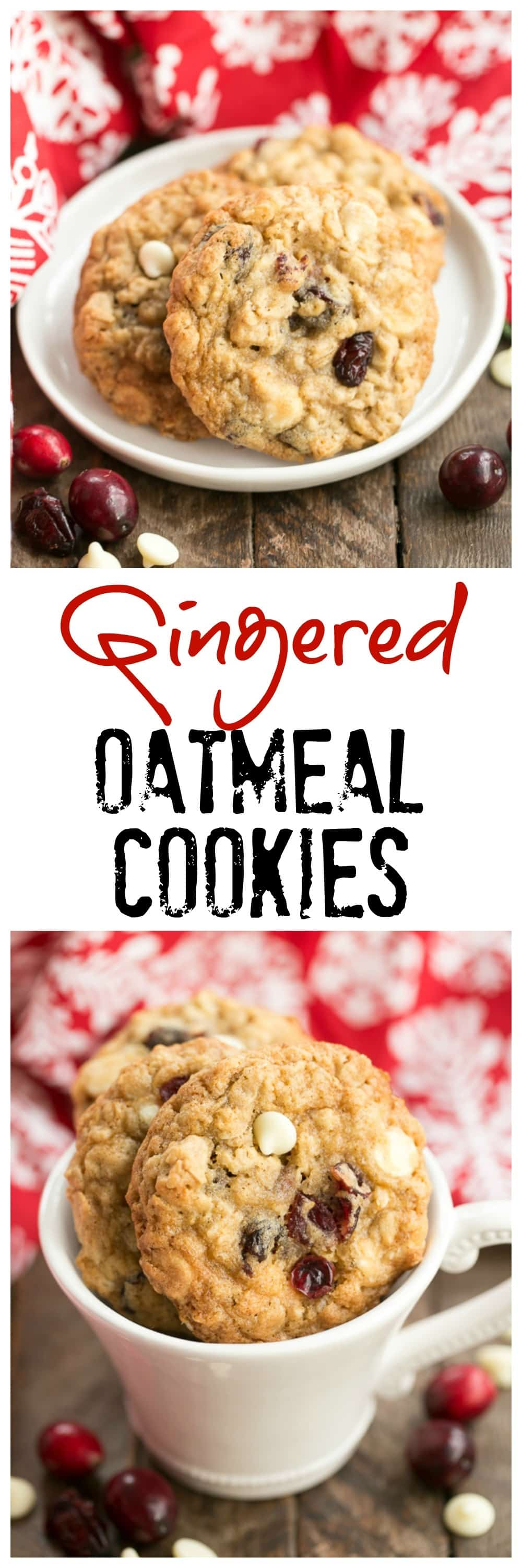 Gingered Cranberry Oatmeal Cookies | Loaded with spices, dried cranberries, white chocolate and oats!