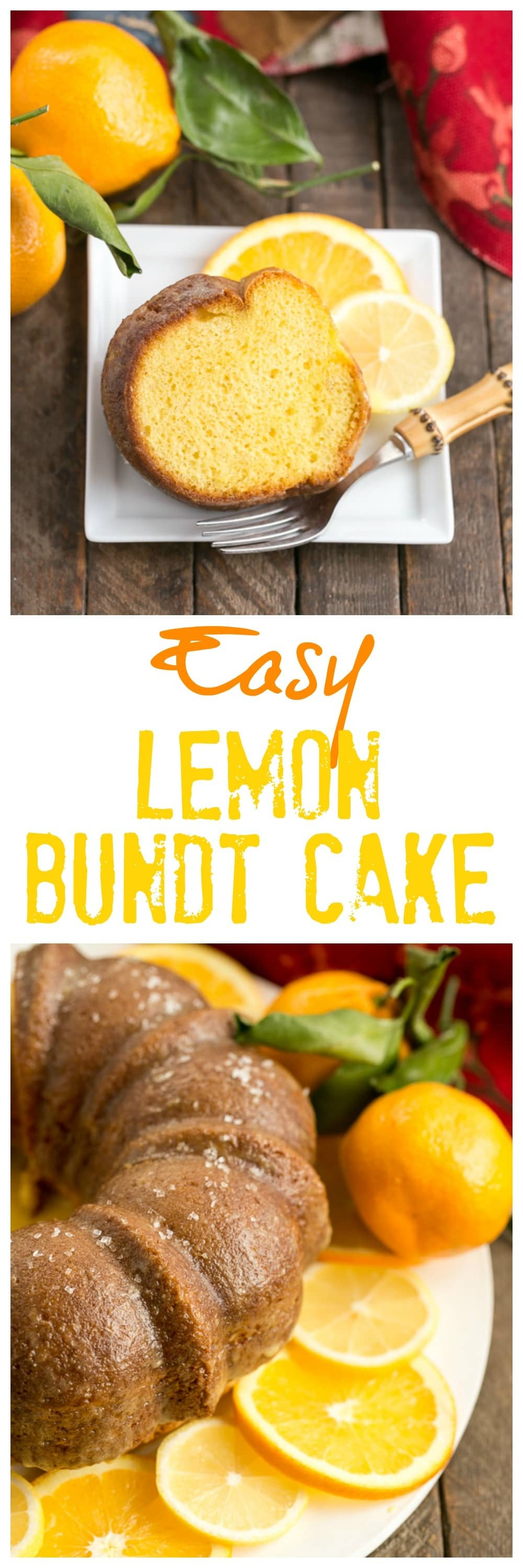 Easy Lemon Bundt Cake long pinterest collage