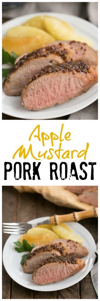 Apple Mustard Pork Tenderloin | A quick entree with a flavorful apple cider and grainy mustard based glaze