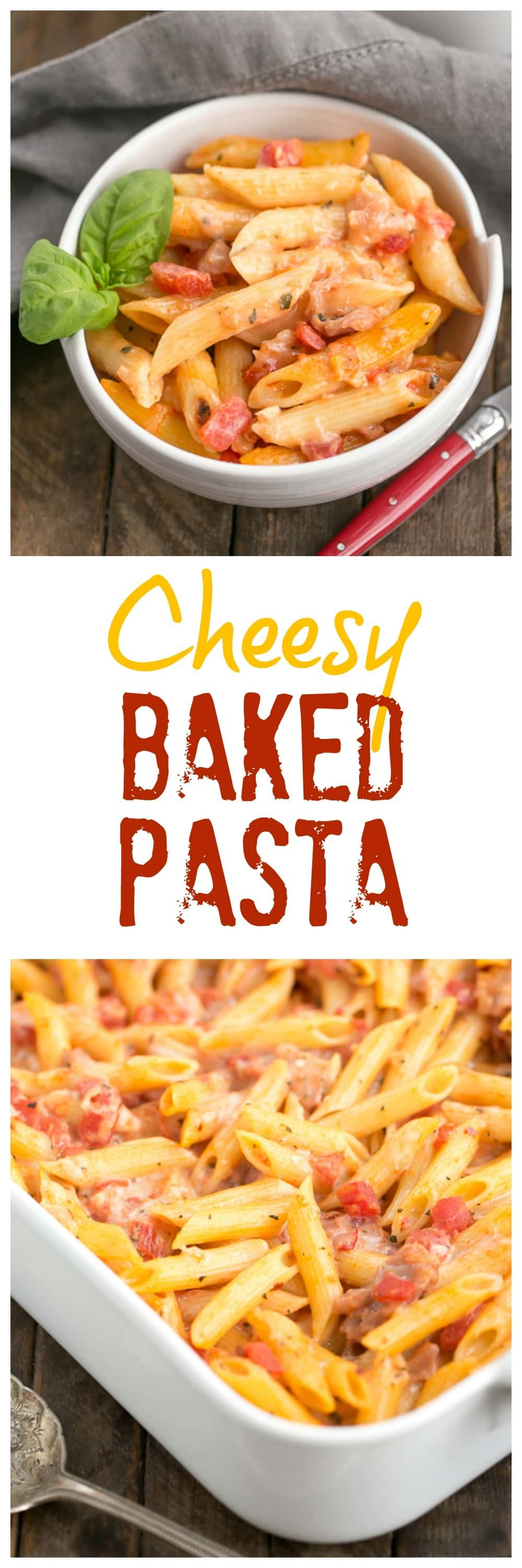 Cheesy Baked Pasta   Creamy pasta with 3 cheeses, basil and prosciutto