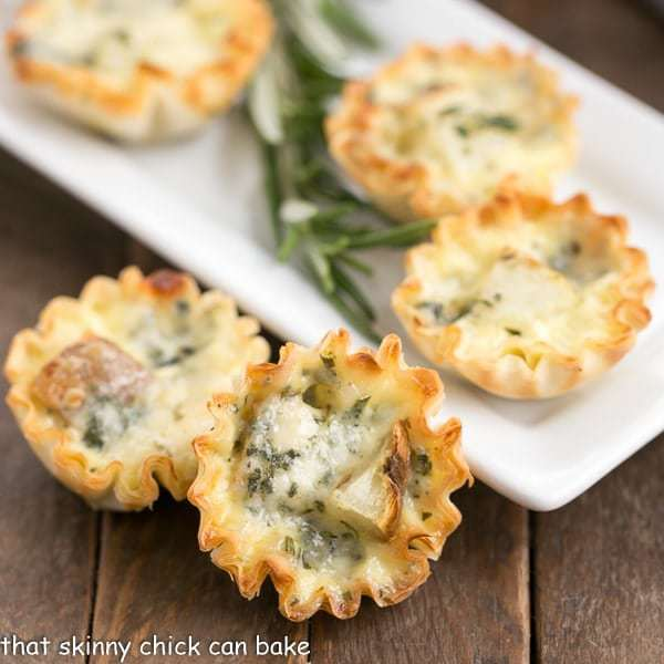 serving platter of Potato Blue Cheese Tartlets