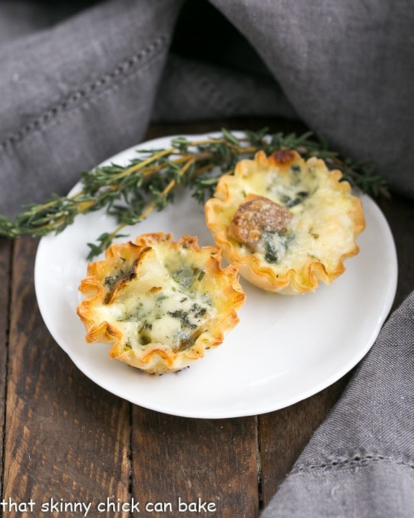 Potato Blue Cheese Tartlets on a round plate