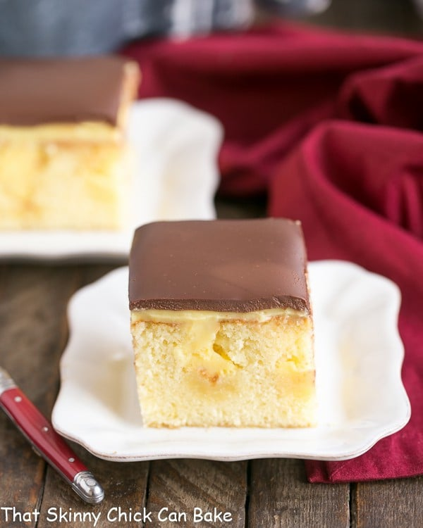 I Had Selected This Boston Cream Pie Poke Cake For Januarys TwoSweetiePies So It Became A Celebratory Dessert