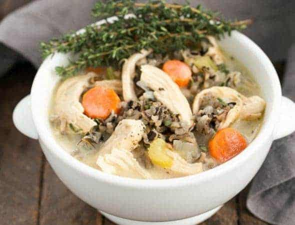 Chicken and Wild Rice Soup | Warm and comforting with herbs, vegetables and white wine