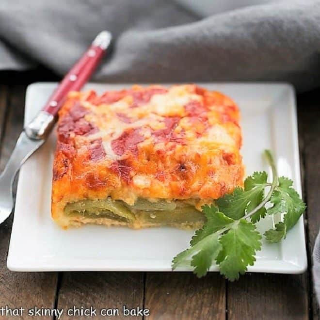 Plated serving of Chiles Rellenos Casserole