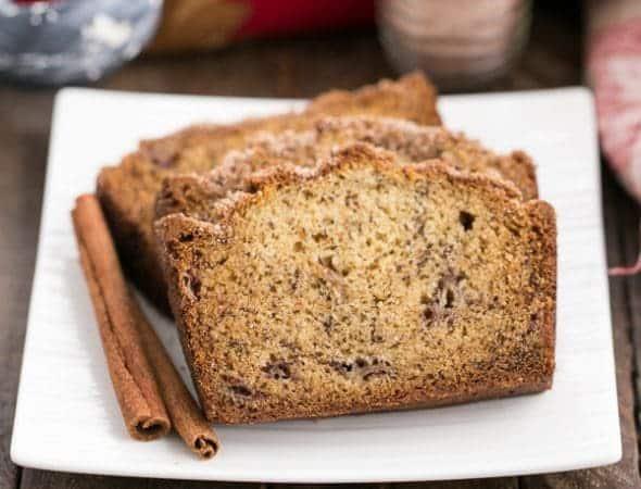 Cinnamon Topped Banana Bread | A dense, moist banana bread generously topped with cinnamon sugar
