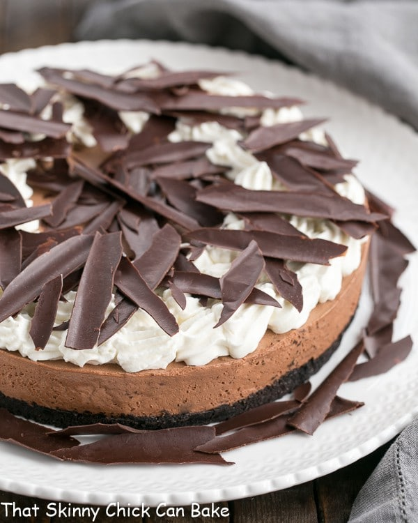 Easy Chocolate Mousse Cake on a white ceramic serving plate