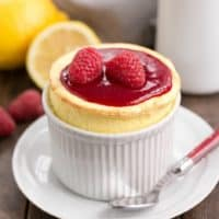 Raspberry Topped Lemon Souffle featured image