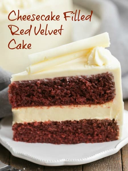 Cheesecake Filled Red Velvet Cake - A sublime combination of red velvet cake, cheesecake and cream cheese frosting! #redvelvet #cheesecake #birthdaycake