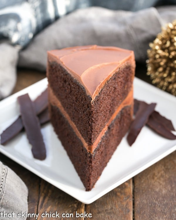 Chocolate Mayonnaise Cake slice on a square white plate