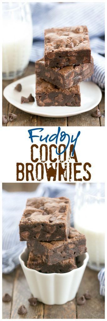 Fudgy Cocoa Brownies | Thick and chewy with an extra boost of chocolate!