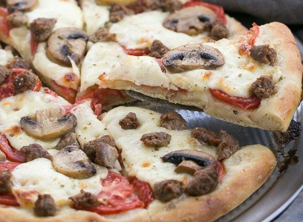 Sausage Mushroom Pizza | Made with a fabulous homemade, yeast dough crust
