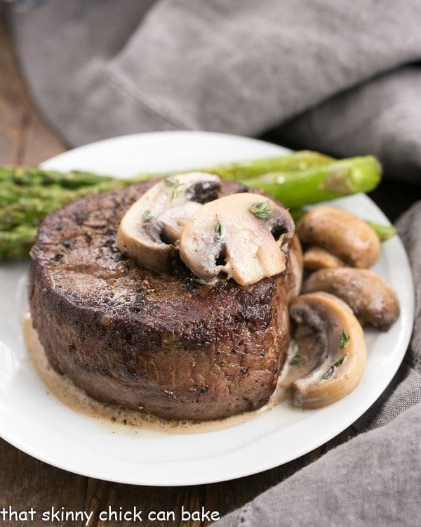 Mushroom Topped Pepper Steak   An easy, elegant stove top recipe!
