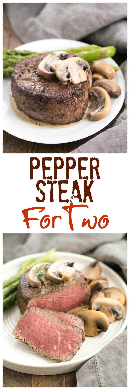 Mushroom Topped Pepper Steak for Two #SundaySupper - That Skinny ...