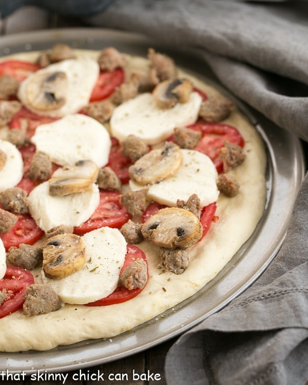 Sausage Mushroom Pizza   Made with a fabulous homemade, yeast dough crust