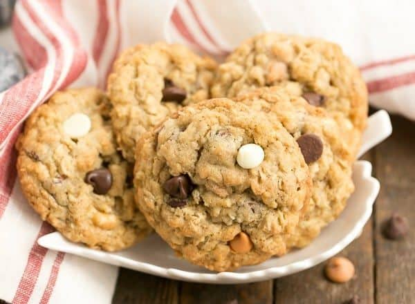 Triple Threat Oatmeal Cookies | Chewy, buttery and full of 3 varieties of baking chips