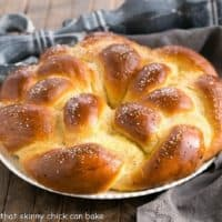 Braided Easter Bread on a round white serving plate
