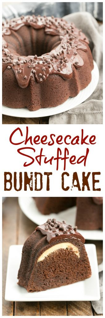 Cheesecake Stuffed Chocolate Bundt Cake | A rich chocolate cake with a dreamy surprise in the middle!