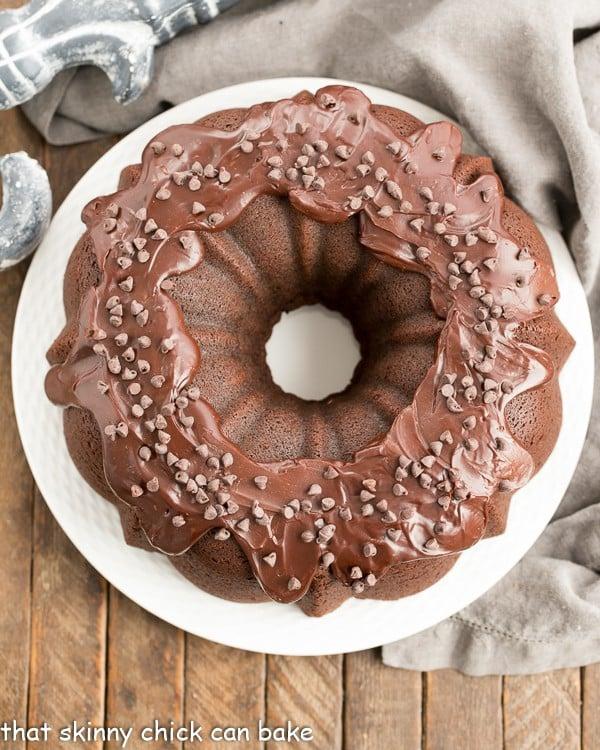 overhead image of Cheesecake Stuffed Chocolate Bundt Cake
