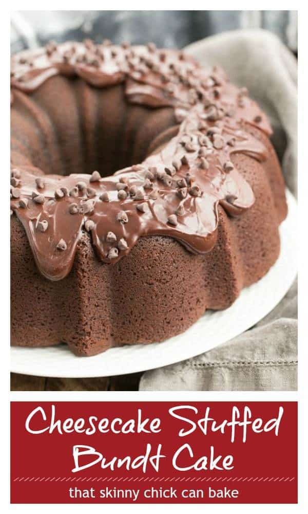 Cheesecake Stuffed Chocolate Bundt Cake pinterest collage