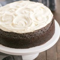Chocolate Guinness Cake | Rich chocolate one layer cake spiked with Irish brew and topped with cream cheese icing!