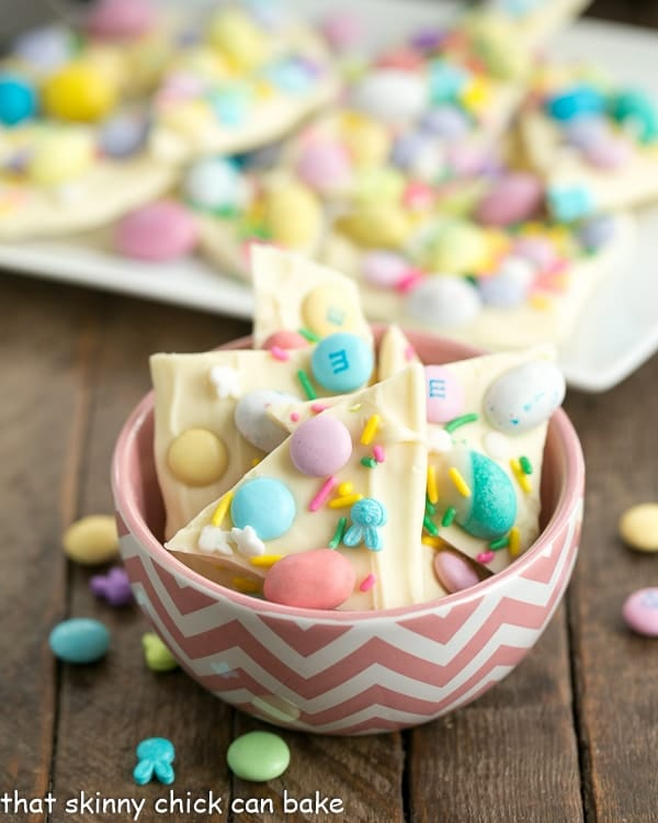 Easy White Chocolate Easter Bark in a pink and white bowl
