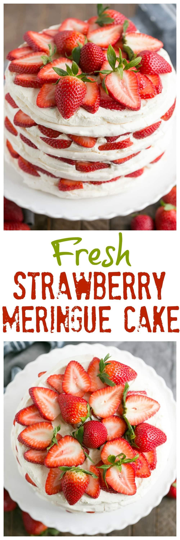 Strawberry Meringue Cake combines four crispy meringues, luscious strawberry slices and sweet, decadent mascarpone cream for the ultimate spring dessert!. #dessert #cake #strawberries #recipe