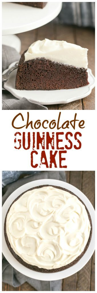 titled photo collage of a one layer Chocolate Guinness Cake