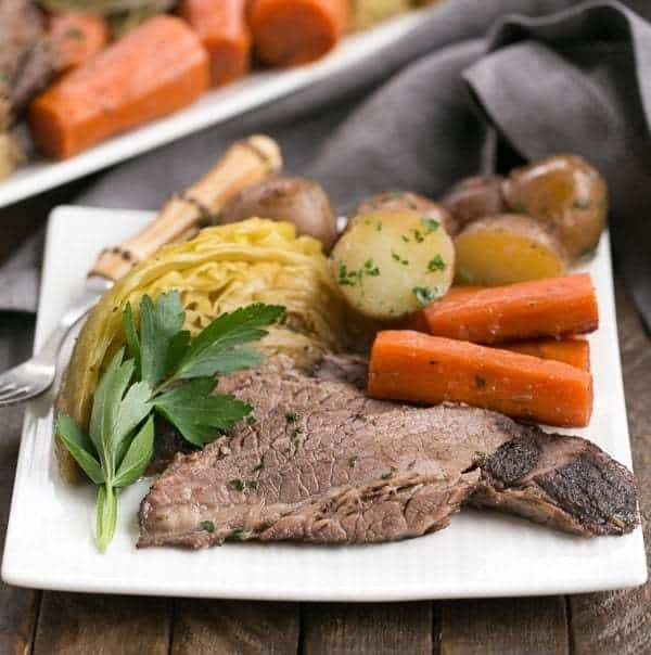 Irish Braised Corned Beef   Brisket slow cooked with the classic corned beef spices!