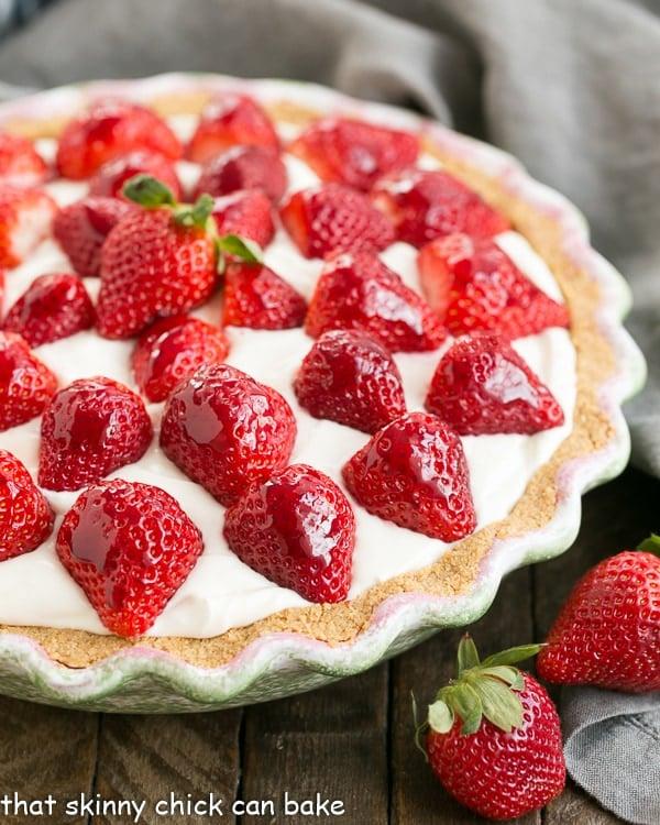 Strawberry Cream Pie in a green pie plate