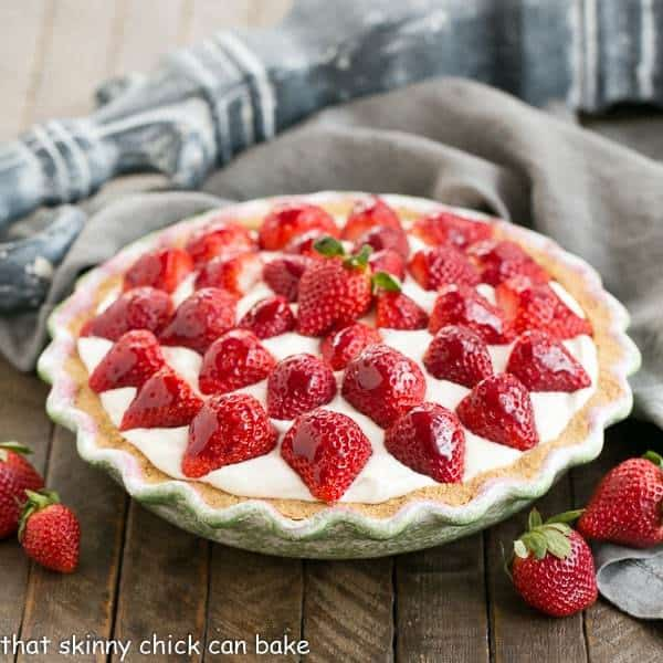 Strawberry Cream Pie | A dreamy, luscious cream pie topped with ripe berries