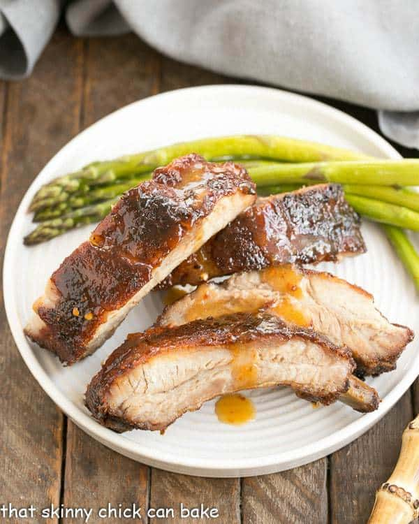 Overhead view of Apricot Glazed Baby Back Ribs on a white plate