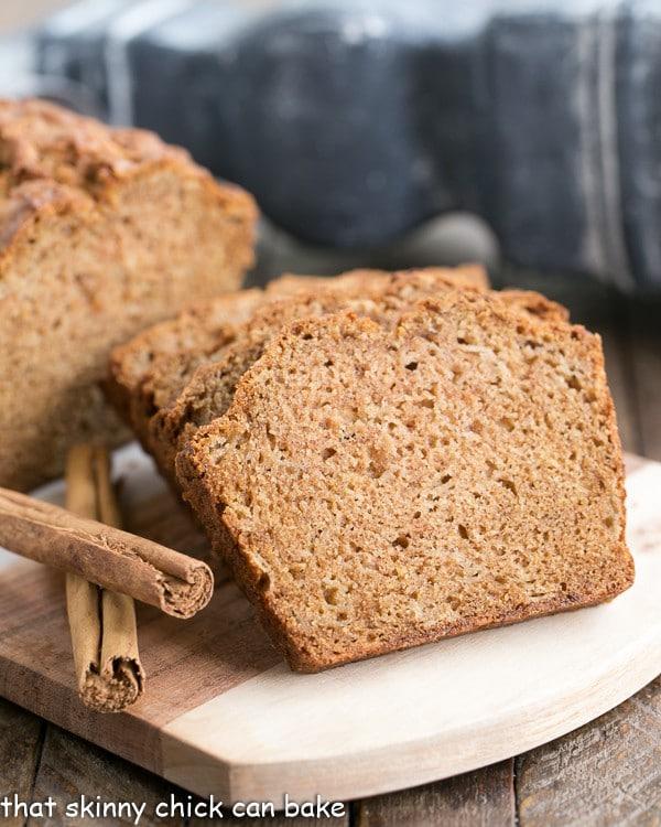 Brown Sugar Apple Bread Recipe on a wooden board